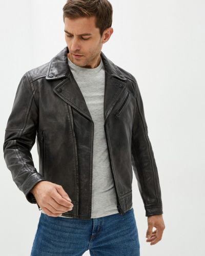 Серая зимняя кожаная куртка Strellson
