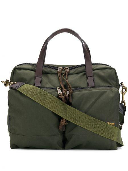 Zielona torba na ramię skórzana Filson