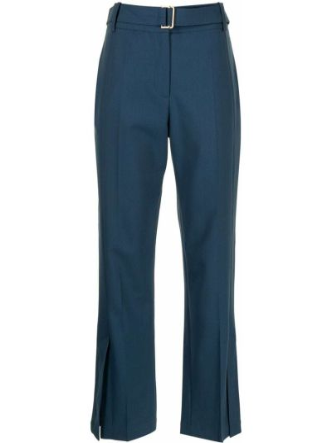 Шерстяные синие укороченные брюки с карманами Eudon Choi