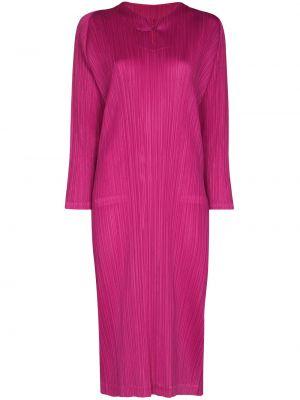 Платье миди на пуговицах - розовое Pleats Please Issey Miyake