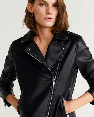 Прямая черная облегченная кожаная куртка на молнии Mango