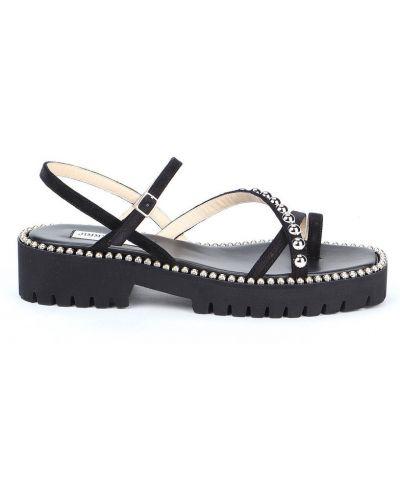 Czarne sandały srebrne Jimmy Choo
