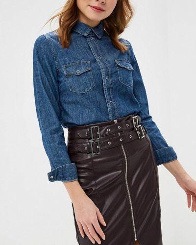 Джинсовая рубашка с длинным рукавом синяя Lost Ink.