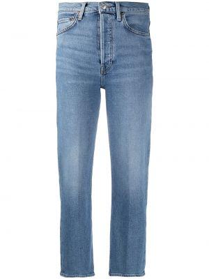 Bawełna niebieski jeansy do kostek z łatami z kieszeniami Re/done