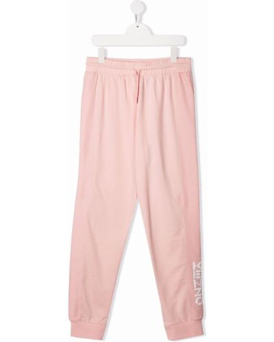 Różowe spodnie bawełniane z printem Kenzo Kids