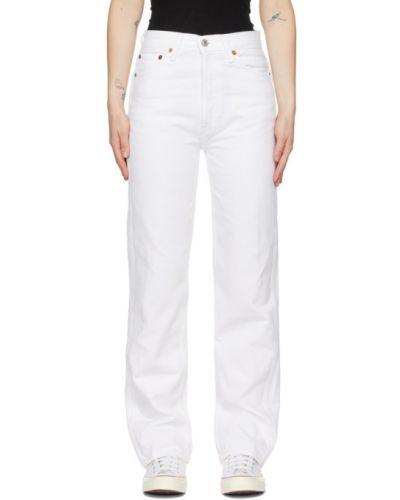 Skórzany niebieski jeansy z łatami Re/done
