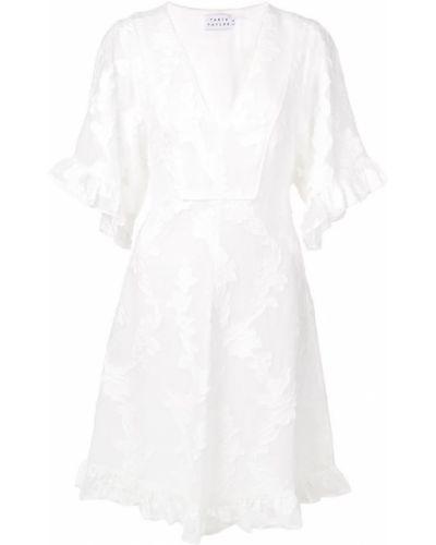 Платье мини с V-образным вырезом с бантом Tanya Taylor