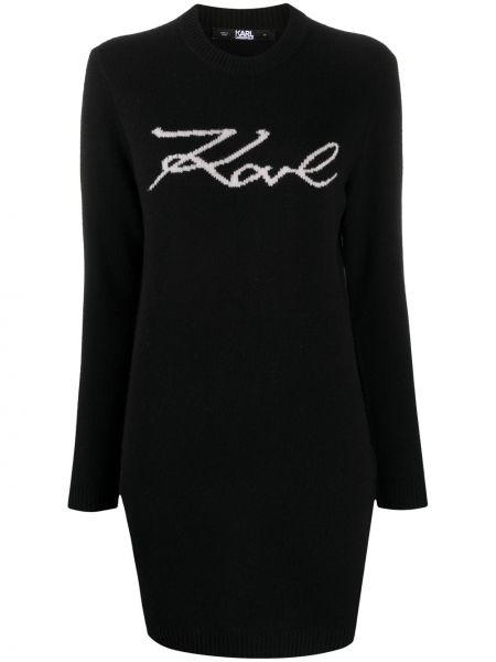 С рукавами шерстяное черное платье макси Karl Lagerfeld