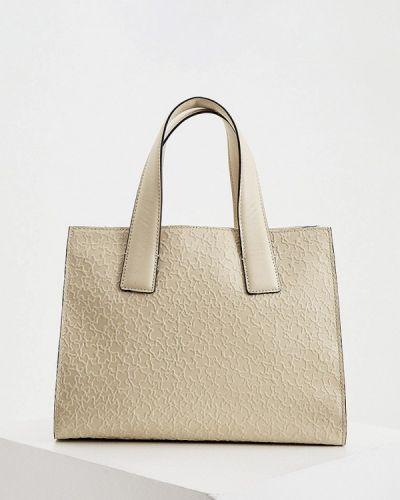 Бежевая сумка с ручками из натуральной кожи Tous