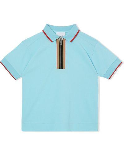 Niebieska koszula krótki rękaw bawełniana Burberry Kids