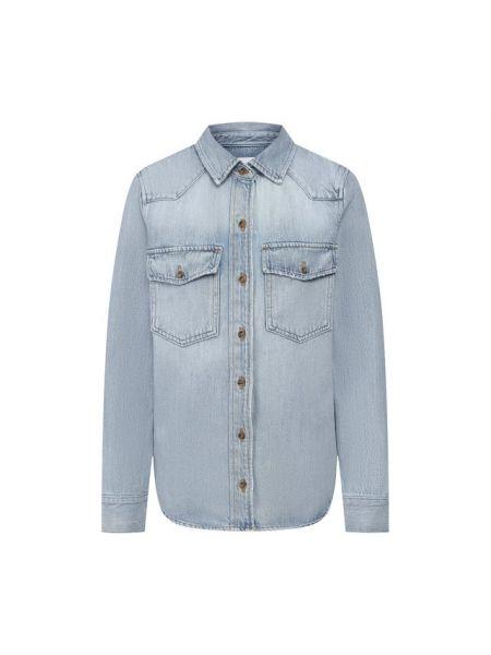 Хлопковая синяя джинсовая рубашка с запахом Frame Denim