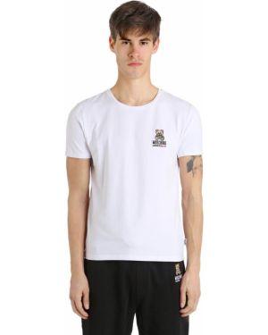 Biały t-shirt bawełniany z haftem Moschino Underwear