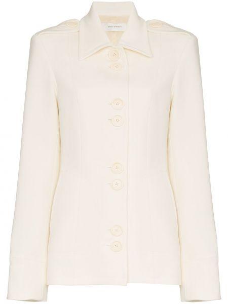Однобортный приталенный белый пиджак Wales Bonner