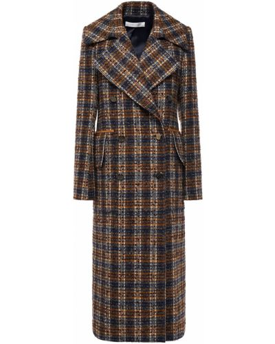 Кожаное пальто двубортное с карманами Victoria Beckham