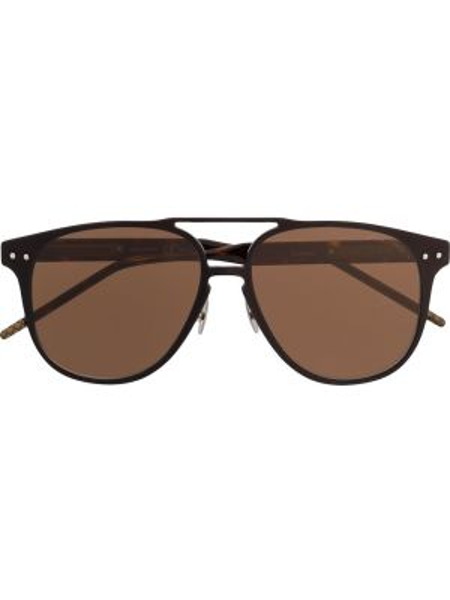 Прямые солнцезащитные очки хаки с завязками Bottega Veneta Eyewear