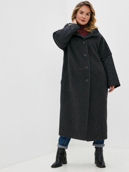 Серое зимнее пальто с капюшоном Gamelia