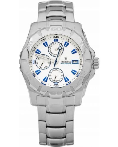 Biały zegarek srebrny Festina