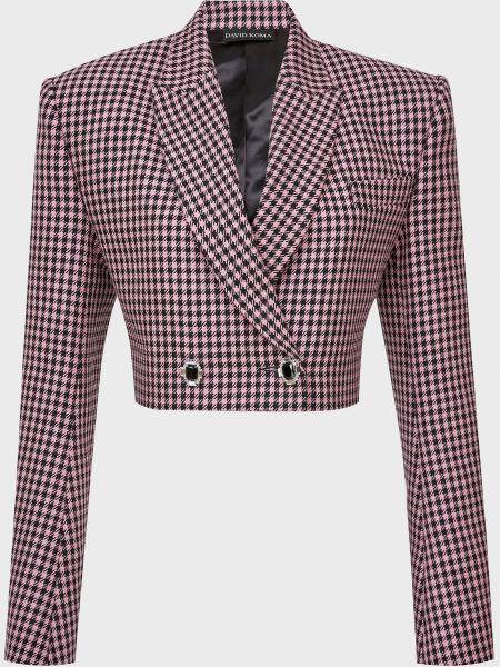 Шерстяной розовый пиджак на пуговицах David Koma