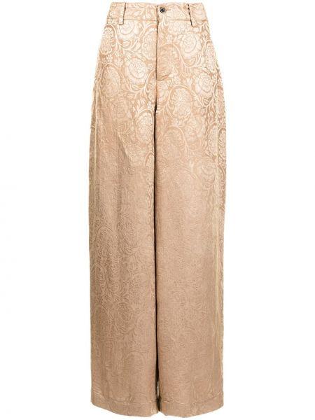 С завышенной талией шелковые коричневые брюки Uma Wang