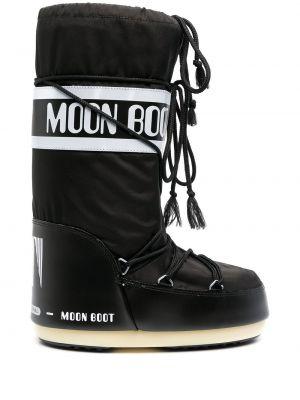 Черные сапоги на шнуровке Moon Boot