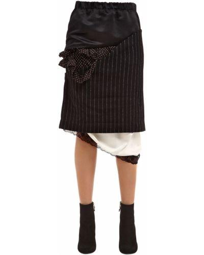 Czarna spódnica asymetryczna w grochy Facetasm