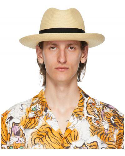 Соломенная черная шляпа соломенная из натуральной кожи Wacko Maria