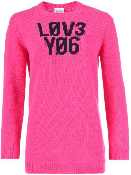 Розовый свитер шерстяной Red Valentino