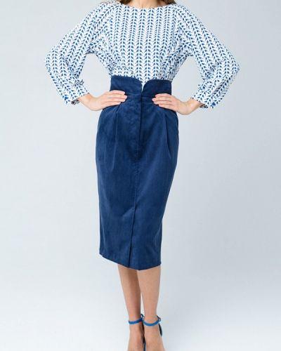 Синяя юбка карандаш с рукавом 3/4 Mascot