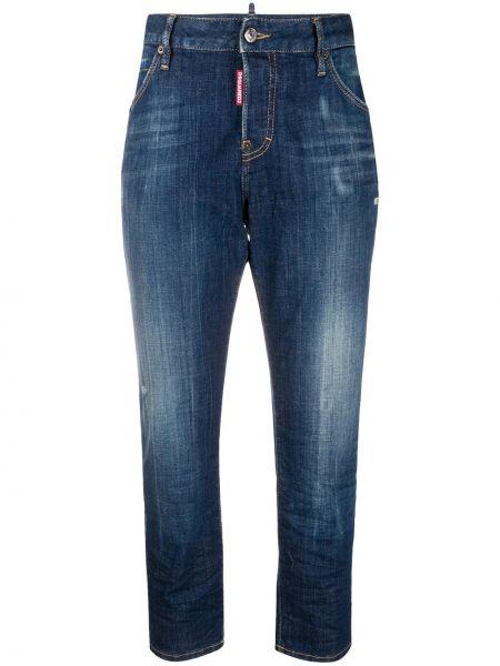 Прямые синие укороченные джинсы с карманами Dsquared2
