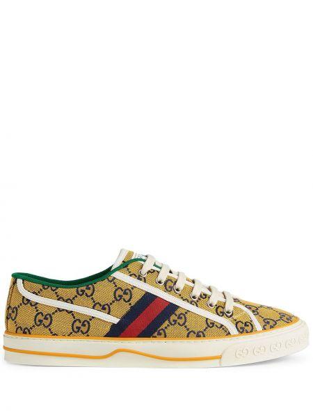Żółte sneakersy koronkowe sznurowane Gucci