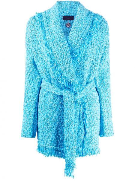 Приталенное синее пальто свободного кроя Alanui