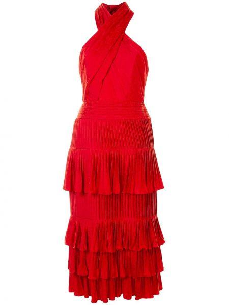 Красное платье с открытой спиной из вискозы Silvia Tcherassi