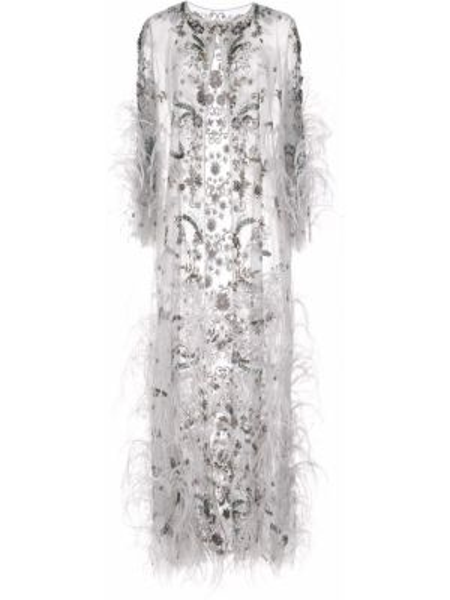 Серое вечернее платье с длинными рукавами с бахромой Marchesa