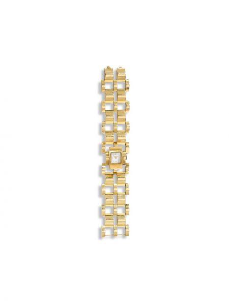 Золотистые кварцевые часы золотые квадратные Cartier