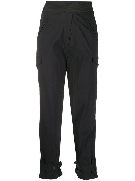 Czarne spodnie z wysokim stanem z jedwabiu Rta