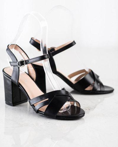 Sandały na słupku eleganckie - czarne Laura Mode