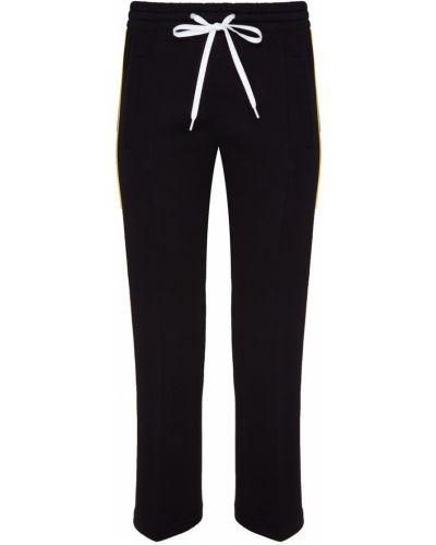 С кулиской флисовые черные укороченные брюки с карманами Miu Miu