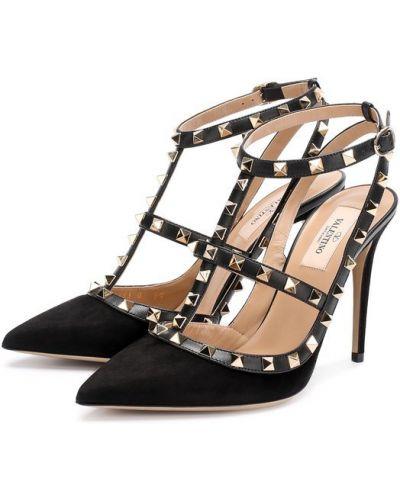 Туфли на высоком каблуке с открытой пяткой кожаные Valentino