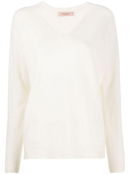 Белый кашемировый вязаный свитер с V-образным вырезом Twin-set