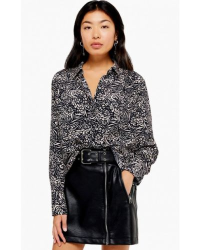 Блузка с длинным рукавом черная Topshop