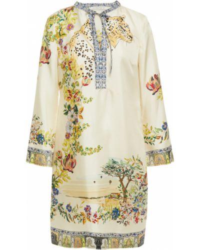 Бежевое шелковое платье мини с карманами Etro