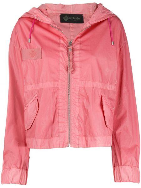 С рукавами хлопковая розовая куртка с капюшоном на молнии Mr & Mrs Italy