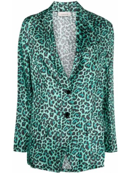Зеленый удлиненный пиджак на пуговицах из вискозы Laneus