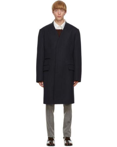 Wełniany długi płaszcz z kołnierzem z kieszeniami z mankietami Maison Margiela