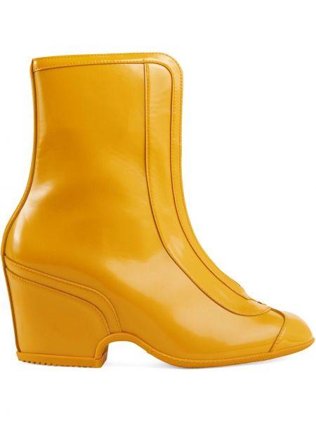 Kozaki skórzane - żółte Gucci