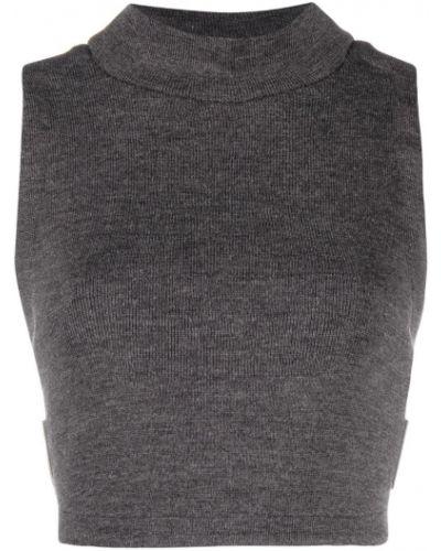 Серый шерстяной топ в рубчик с воротником Comme Des Garçons Noir Kei Ninomiya