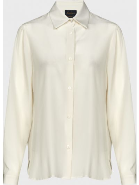 Шелковая белая блузка на пуговицах Luisa Spagnoli