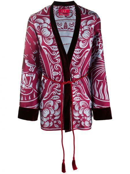 Шелковый розовый удлиненный пиджак с поясом F.r.s For Restless Sleepers