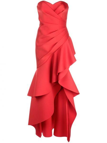 Плиссированное красное платье без бретелек Badgley Mischka
