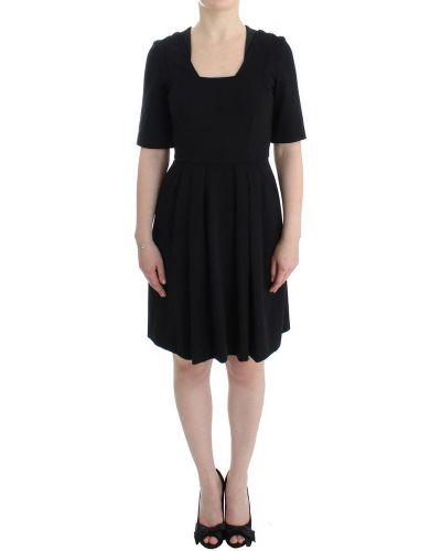 Czarna sukienka mini na co dzień krótki rękaw Cote